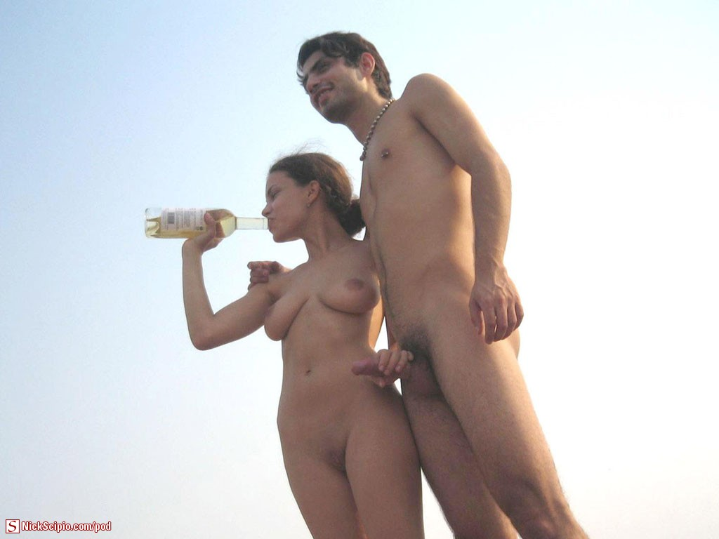 Nudist couples beach handjob